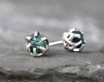 Raw Emerald Earrings - Sterling Silver Filigree Inspired - Stud Earring - May Birthstone - Uncut Gemstone - Green Emerald Earrings