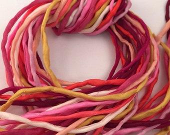 Silk Ribbon Cord Bundle Item No.355 Contains Ten 2mm Silk Ribbons Random Colors
