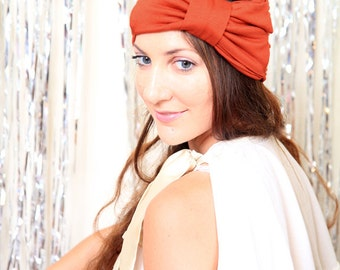 Women's Turban Headband with Bow - Jersey Knit Hair Wrap - Available in 24 Colors