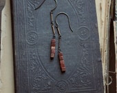 Archer. Rustic Bohemian Vintage Brass and Goldstone Cube Long Line Drop Earrings.