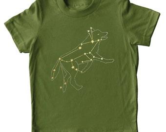 Lupus Wolf constellation Shirt, animal gold stars space print, metallic gold foil science werewolf screenprint, olive green short sleeve