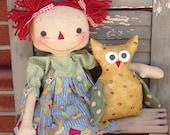 """Primitive Raggedy Ann Doll pattern, raggedy doll with owl, 20"""" rag doll, sewing pattern, owl pattern, HFTH201"""