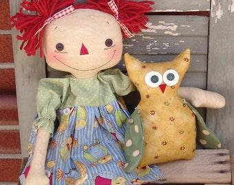 """Primitive Raggedy Ann Doll pattern, raggedy doll with owl, 20"""" rag doll, sewing pattern, owl pattern, PRINTED PATTERN HFTH201"""