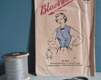 Vintage Sewing Pattern 1940s 1950s Women's Waistcoat Bodice Top Blackmore 7554 UK 32 inch bust unused factory folded - 40s 50s dressmaking