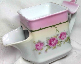 Shaving Mug Scuttle Pink Roses with Brush Rest - Antique Fine Decor of the 1900s for the Gentleman Men Skuttle shape Mens Gift from Germany