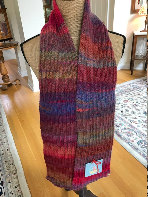Hand Knit Long Scarf –AURORA Amazing Yarn