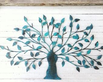Metal Tree Wall Decor, Iron Tree, Wall Decoration, Country Home, Metal Wall Decor, Hotel Decor, Spanish Aqua Home Decor