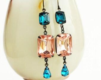 Peach Pink Aqua Rhinestone Earrings Vintage Rosaline Pink Glass Dangles Earrings Pink Aquamarine Teal Jewelry Pastel Bridal Earrings
