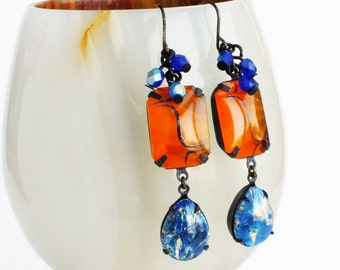 Orange Blue Dangle Earrings Vintage Art Deco Tangerine Rhinestone Earrings Lampwork Jewelry Blue Opal Earrings Orange Glass
