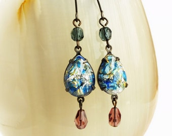 Blue Opal Earrings Vintage Harlequin Fire Opal Victorian Jewelry Blue Glass Dangles Gift For Her Something Blue