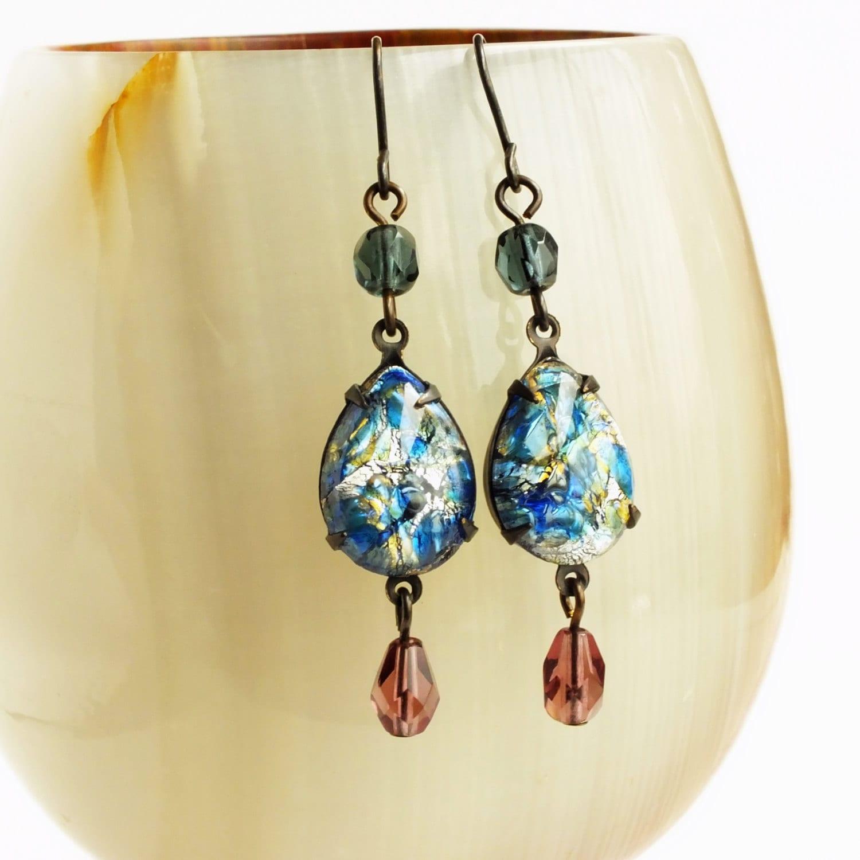 blue opal earrings vintage harlequin fire opal victorian. Black Bedroom Furniture Sets. Home Design Ideas