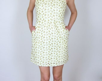 Cream Floral 60's Day Dress
