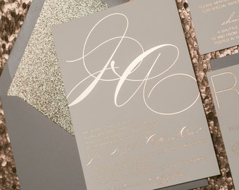 Foil  - Grey and Rose Gold Glitter Modern Wedding Invitations - SAMPLE (Jessica)