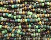 31/0 (8x5mm) Aged Bora Bora Picasso Mix Czech Glass Seed Beads - 9 Inch Strand (DW178)