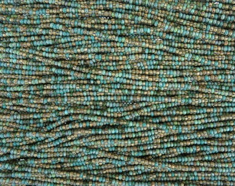10/0 Aged Opaque Navajo Turquoise Picasso Mix Czech Glass Seed Beads 6 Strand Hank (AW303)
