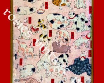 Cats ~ Cats of Tokaido Road ~ Japanese Wood Cut ~ Vintage Cat poster ~ Wood Cut - Vintage Japanese art ~ 53 cats ~ Wall Art