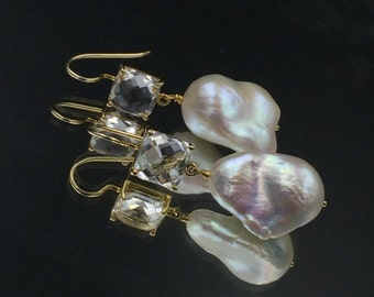 Baroque Pearl Dangle Earrings Crystal Quartz Connector Earrings Gold White Earrings Beach Wedding Resort Pearl Earrings Large Pearl Drop