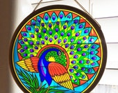 Vintage Glass Peacock Sun Catcher, Stained Glass