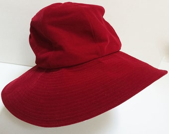 Vintage Adolfo II New York Paris Crimson Red Velvet Hat Wide Brim 1980's Saks Fifth Avenue