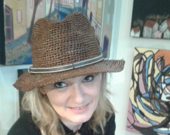 Natural Crocheted Fedora with Leather Trim Band