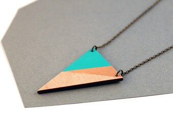 Geometric, wooden triangle necklace - water blue, gold, natural wood - minimalist, modern jewelry