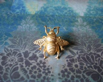 Bumble Bee - Tiny Golden Bumble Bee Brooch Lapel Pin or Tie Pin with Gift Box