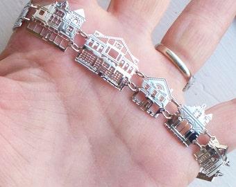 Rare Seven Arts Stockbridge Bracelet - Silver, Buildings, Architecture, Signed, Designer