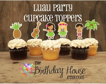 Luau Party- Set of 12 Double Sided Assorted Hula Party Cupcake Toppers by The Birthday House