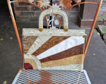 Vintage 1960s Reptile Clutch with Starburst Pattern - Top Handle - Thin Bag - Embossed Snakeskin - Tan Rust White Beige Ivory Gold