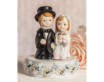Vintage Pastel Flower Cute Child Wedding Cake Topper - Custom Painted Hair Color Available - 100526