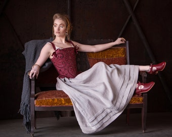 Made to Order Tudor Corset in Wine Red silk with chenille applique, sequin embellishment, 16th Century Stays historical costume, Elizabethan