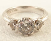 Size 8 Vintage Tacori Sterling Cubic Zirconia Designer Ring with Engraved Scrollwork Band
