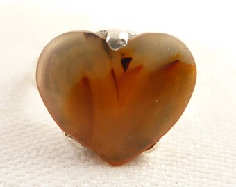 Size 8.75 Vintage Sterling Handmade Heart Shaped Agate Ring