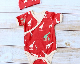 Organic Baby Onesie - Organic Baby Outfit - Boy Going Home Outfit - Newborn Outfit - Boy Giraffe Outfit - Baby Boy Set - MADE TO ORDER
