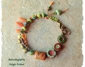 SALE - Boho Beaded Bracelet, Earthy Hippie Beads, Hand Knotted Ethnic Tribal Jewelry, BohoStyleMe, Kaye Kraus