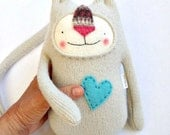 Larger Size Stuffed Animal Cat Upcycled Sweater Repurposed