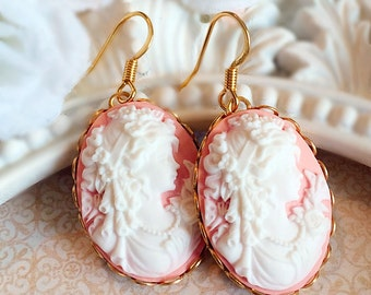 Romantic Cameo Earrings - Pink - Victorian Jewelry - Jewelry Gift - CHARLOTTE Pink