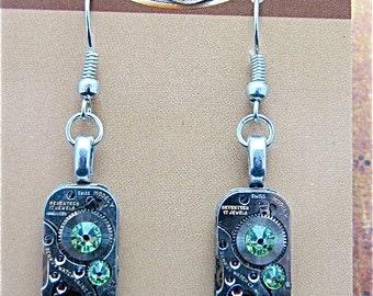 Gleam  - Steampunk Earrings - Repurposed art