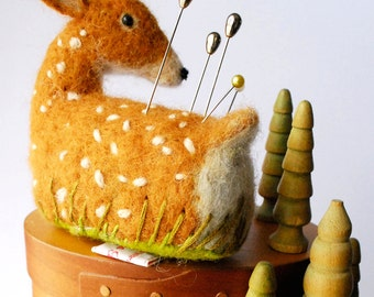 Original Handmade Needle Felted Deer Pin Cushion