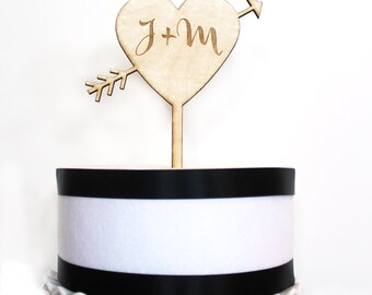 Heart & Arrow Cake Topper with initials, Presonalized wedding cake topper, wood cake topper,