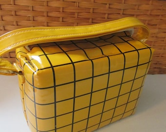 Vintage Yellow Black Checkered Plaid Lunchbox Cooler
