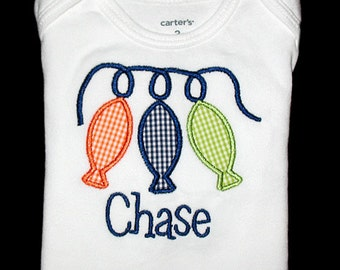 Custom Personalized Applique Gingham STRING of FISH and NAME Bodysuit or Shirt - Orange, Navy Blue, and Lime Green