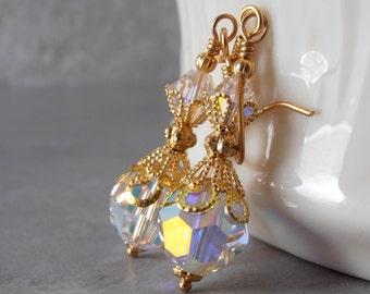 Clear Crystal Dangle Earrings in Gold Filigree, Bridal Earrings, Brides Jewelry, Crystal Bead Earrings, Bridesmaid Earrings, Sparkly Earings
