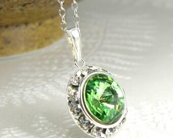 Green Peridot Crystal Necklace, Swarovski Pendant, Sterling Silver, August Birthday Birthstone, Apple Spring Wedding Jewelry, Bridal Gift