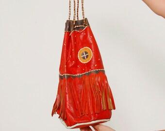 Vintage 70s LEATHER Boho Handbag Red FRINGE Bucket Bag Ethnic Hippie Bag Artisan Leather Bag