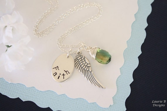 Faith Necklace Personalized, Angel Wing Necklace, Birthstone Necklace, Gemstone, Name Charm, Inspirational Necklace, Sterling Silver