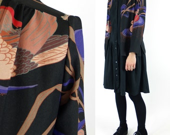 Vintage Duck Jacket XS // bird pond semi sheer 70s 80s extra small // 1970s 1980s black purple campus casuals