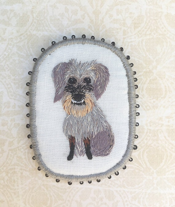 Textile Pet Portrait Brooch - Chessie -  Funny Dogs - collection, hand embroidered textile dog jewelry