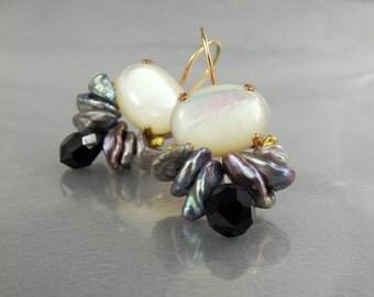 Women's Gift, Statement Drop Earrings, Stone Earrings, Gemstone Bee Earrings, Gemstone Earrings, Pearl Earrings, Statement Earrings