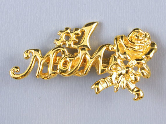 Vintage gold tone number one Mom rose and ribbon bow brooch pin